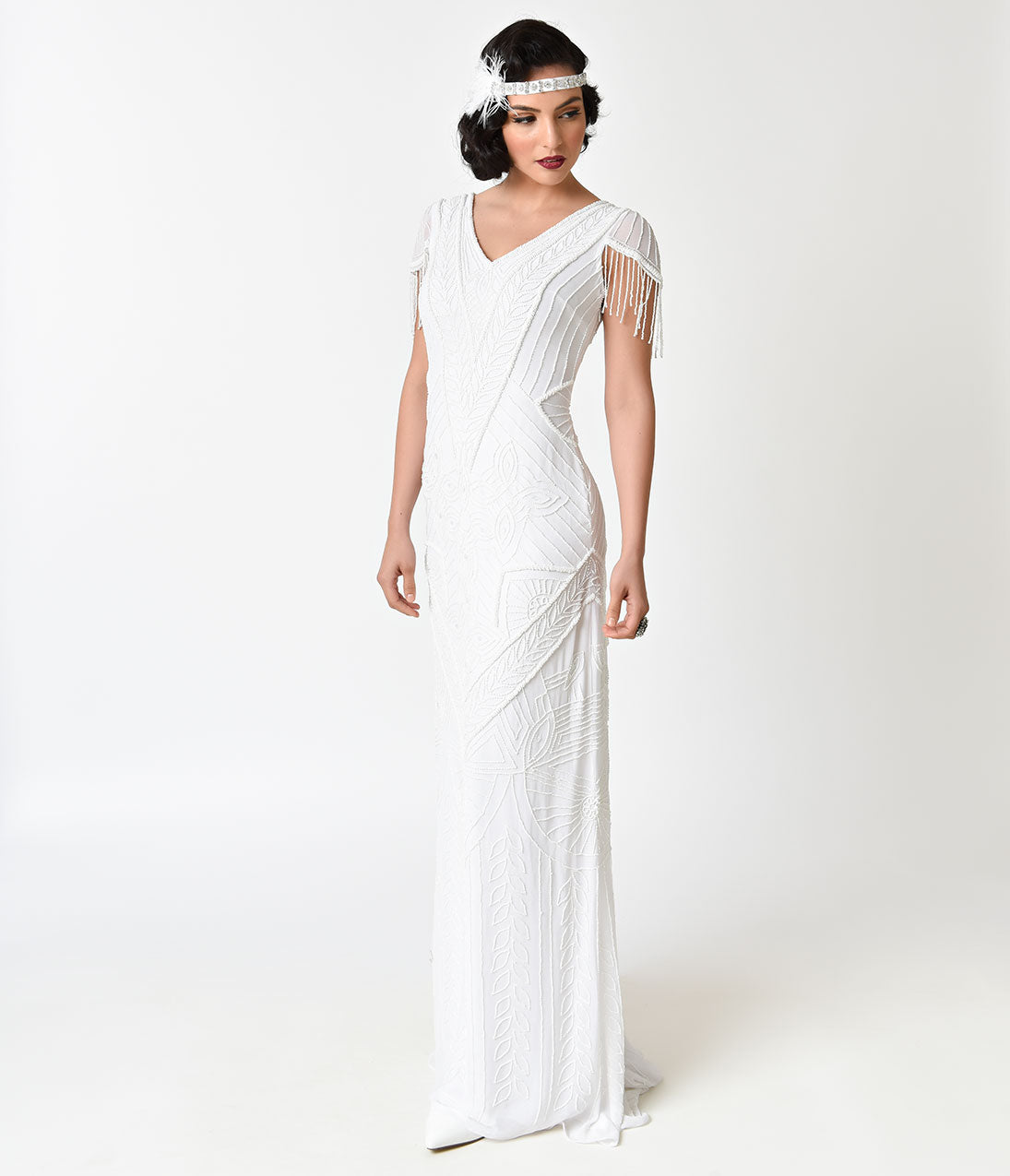 1920s Wedding Dresses- Art Deco Style Frock and Frill White Sequin Beaded Birdelle Bridal Maxi Dress $318.00 AT vintagedancer.com