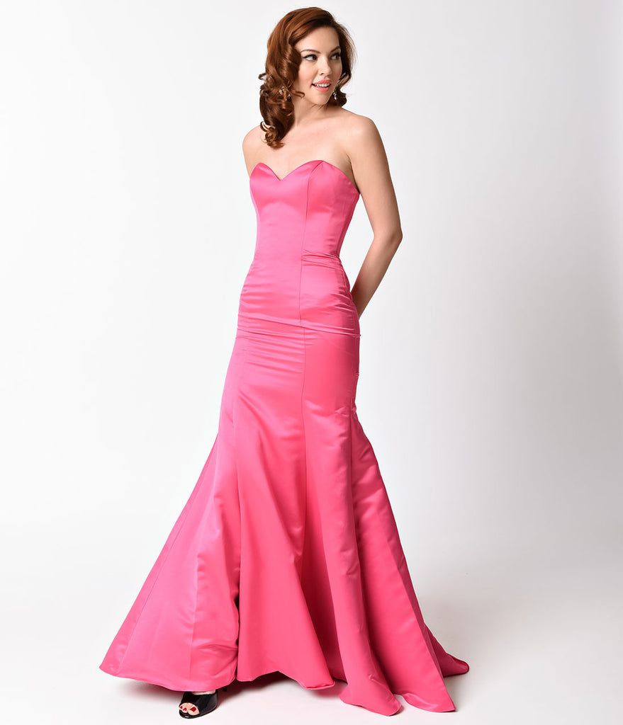 Fuchsia Strapless Satin Sweetheart Mermaid Gown