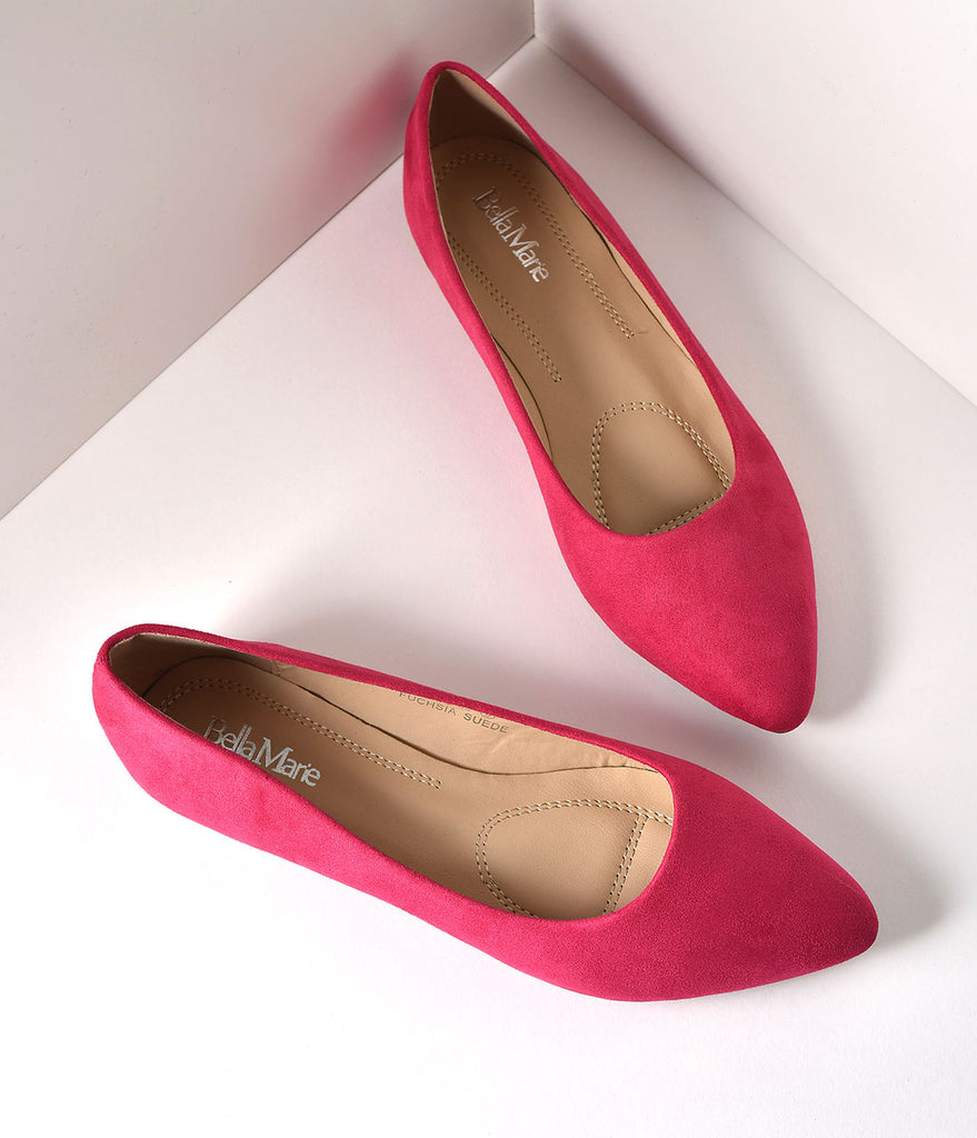 Fuchsia Suede Pointed Toe Flats
