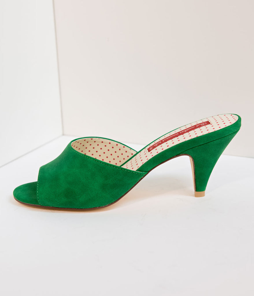 Exclusive B.A.I.T. 1950s Green Suede Peep Toe Slipper Hindy Heels