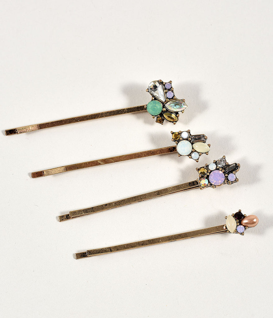 Gemstone & Gold Bobby Pin Set