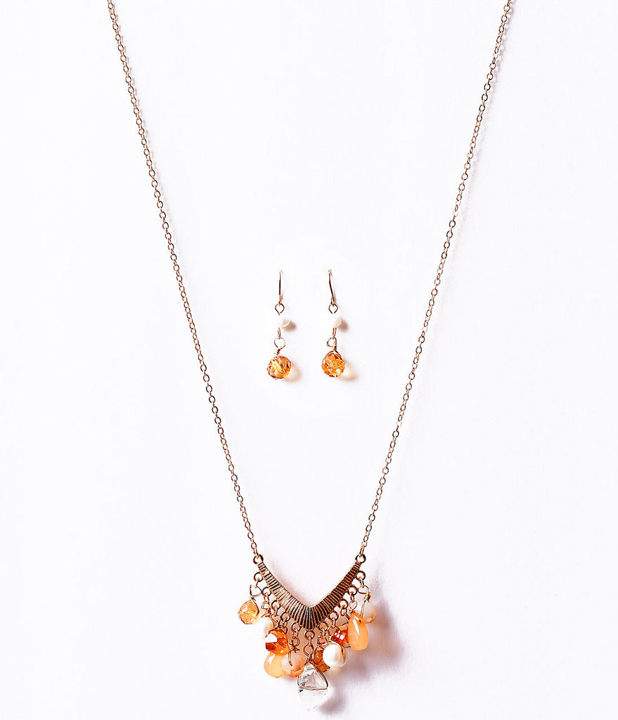 Gold & Brown Dangle Beaded Gems V Necklace & Earring Set