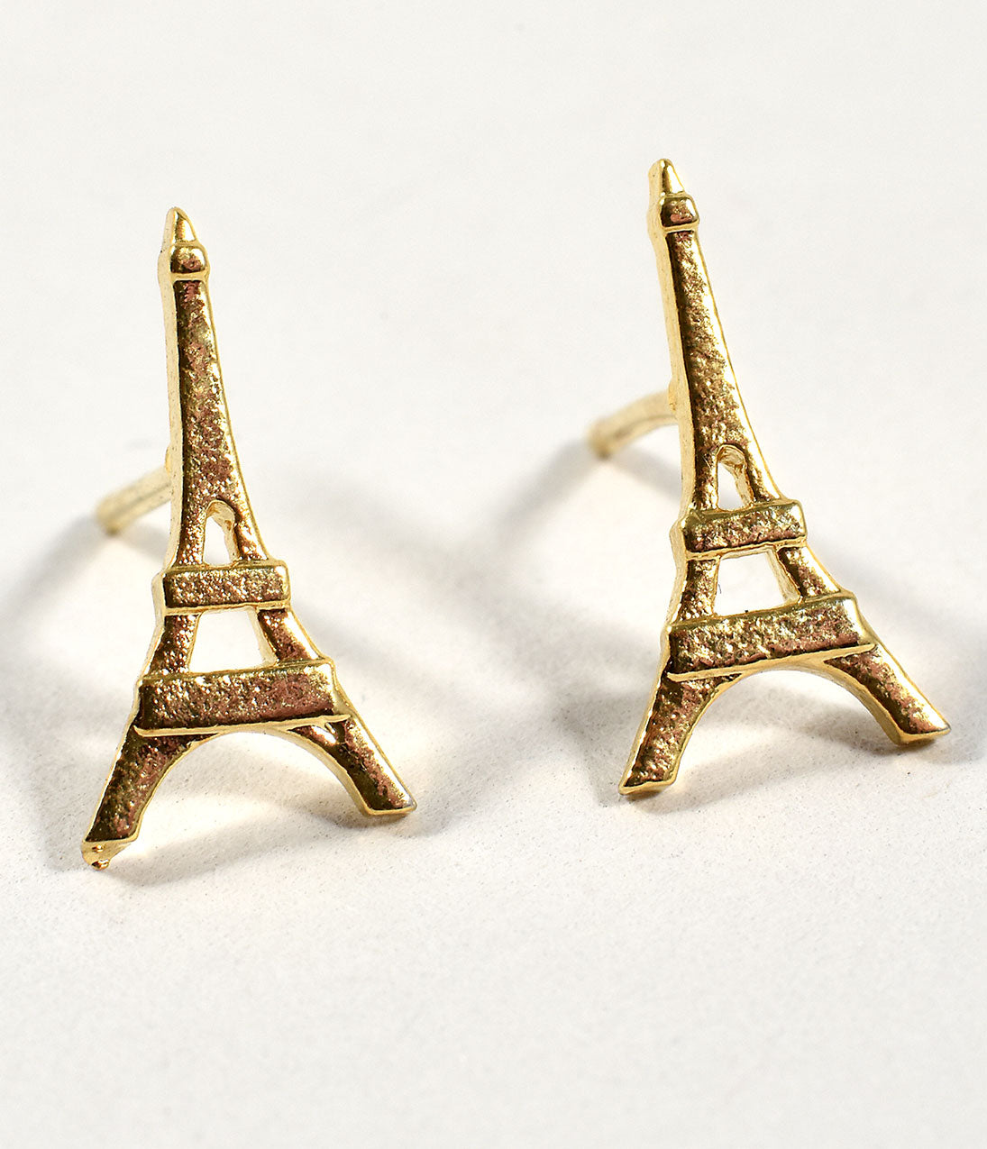 Vintage Style Jewelry, Retro Jewelry Gold Eiffel Tower Stud Earrings $14.00 AT vintagedancer.com