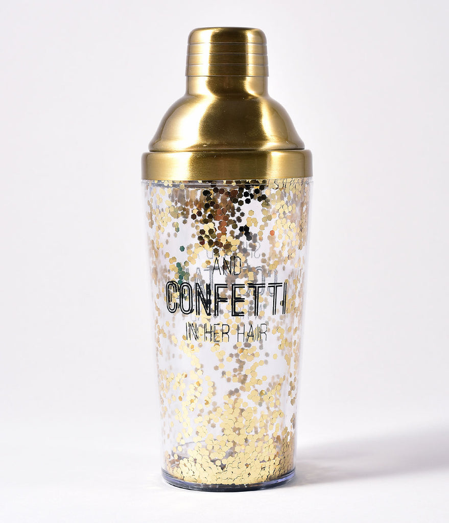 Gold Glitter Happy Hour Cocktail Shaker