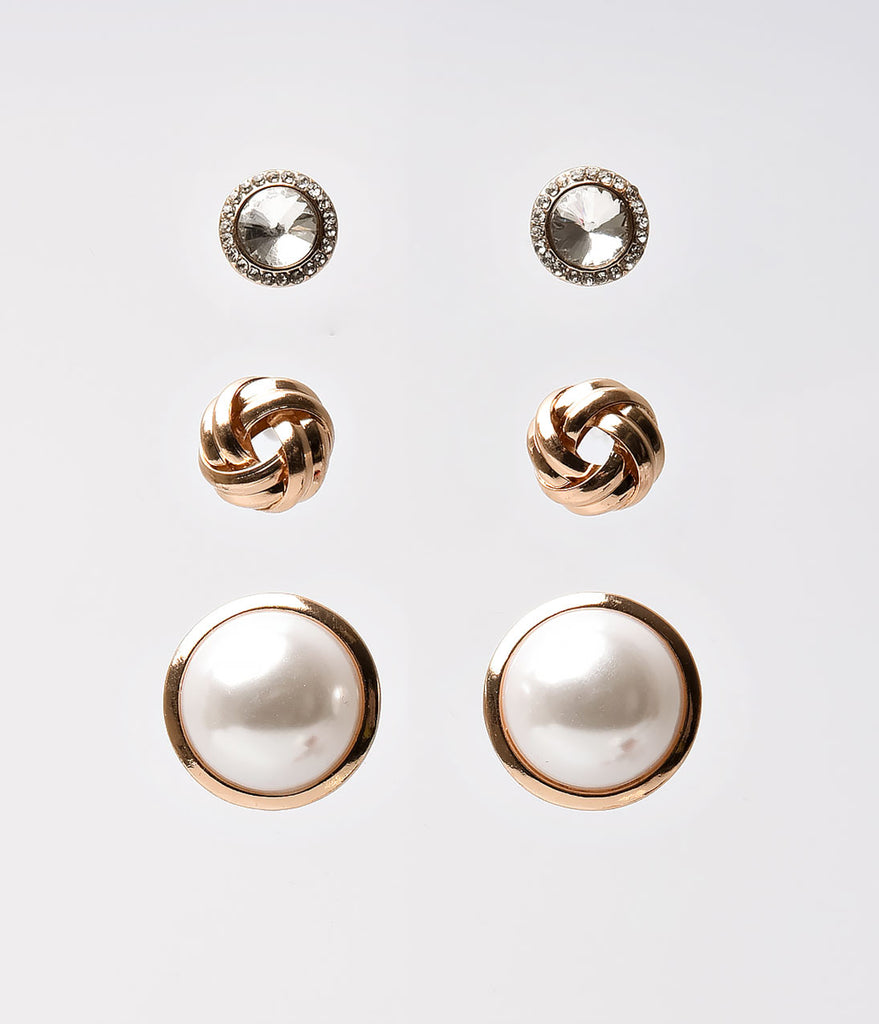 Gold & Ivory Pearl Crystal Post Earring Set