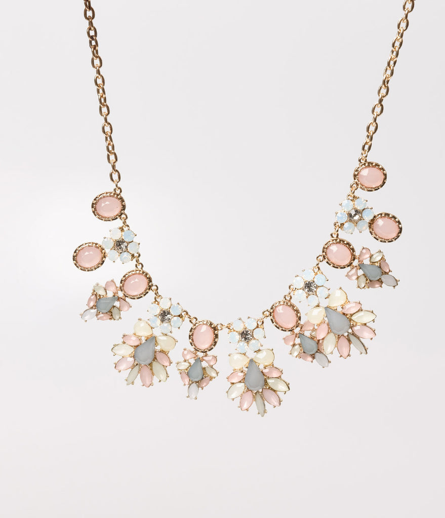 Gold & Light Pink, Grey, & Iridescent Crystals Drop Necklace