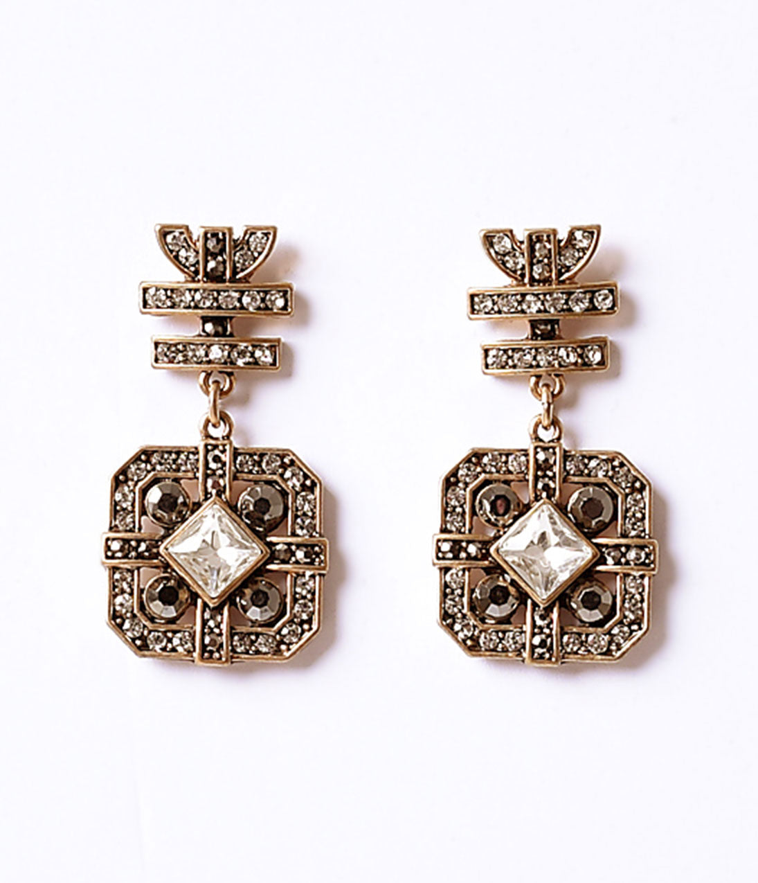 1920s Gatsby Jewelry- Flapper Earrings, Necklaces, Bracelets Gold  Multicolor Crystal Deco Drop Post Earrings $22.00 AT vintagedancer.com