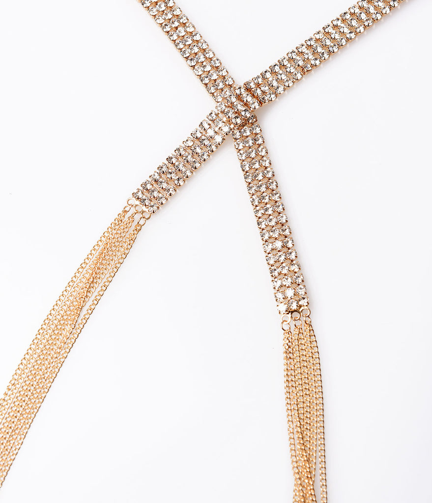 Gold & Rhinestone Three Row Chain Fringe Wrap Necklace