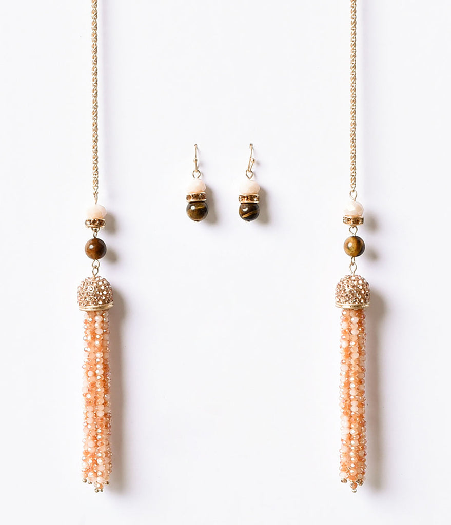 Gold & Rose Tassel Rhinestone Lariat & Earring Set