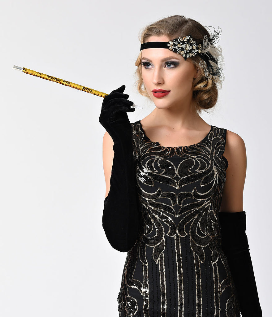 Gold Sequin Flapper Costume Cigarette Holder
