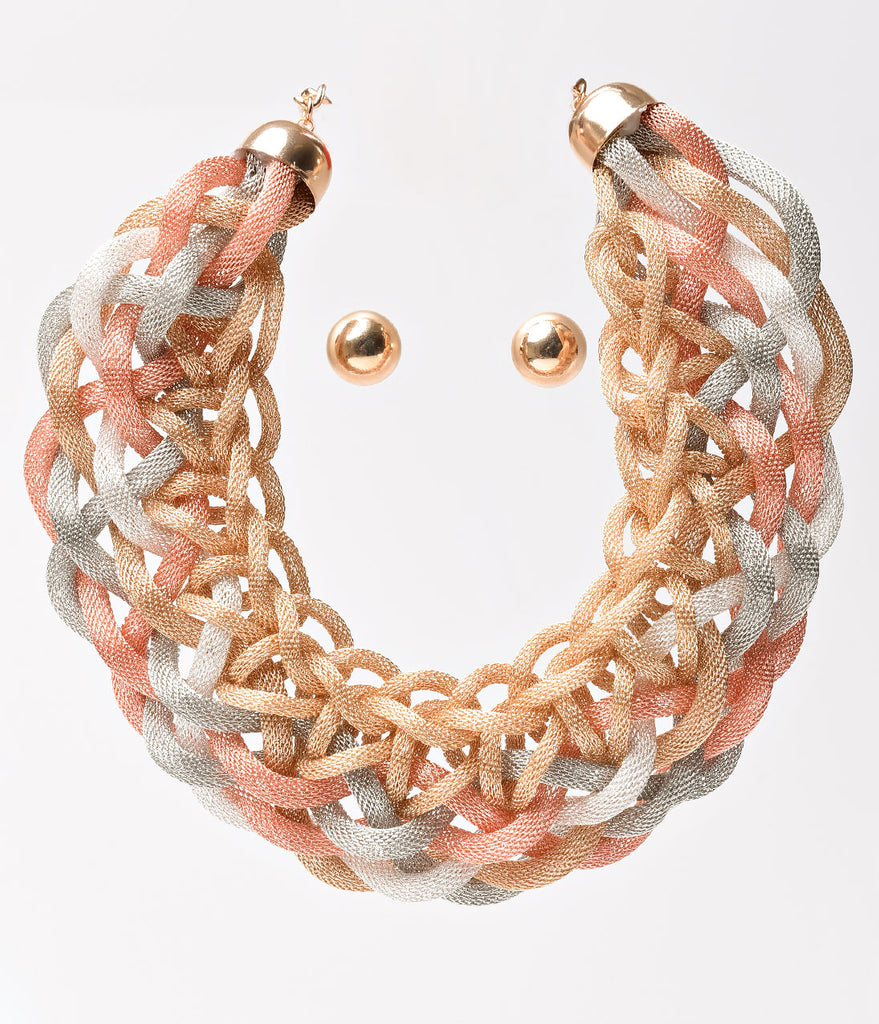 Gold, Silver, & Copper Mesh Woven Necklace & Earring Set