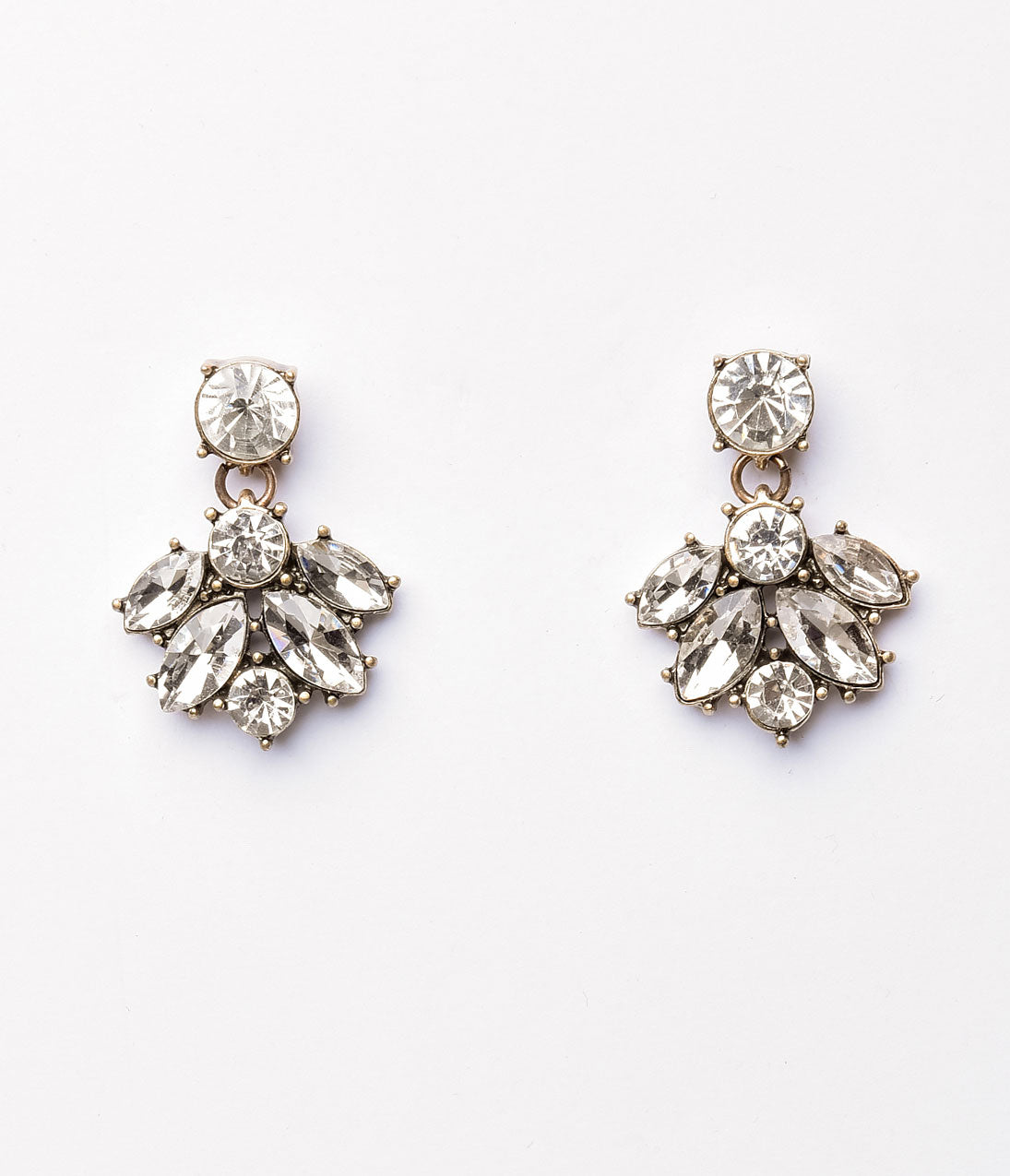 1930s Jewelry | Art Deco Style Jewelry Gold  Silver Rhinestone Petal Dangle Post Earrings $24.00 AT vintagedancer.com
