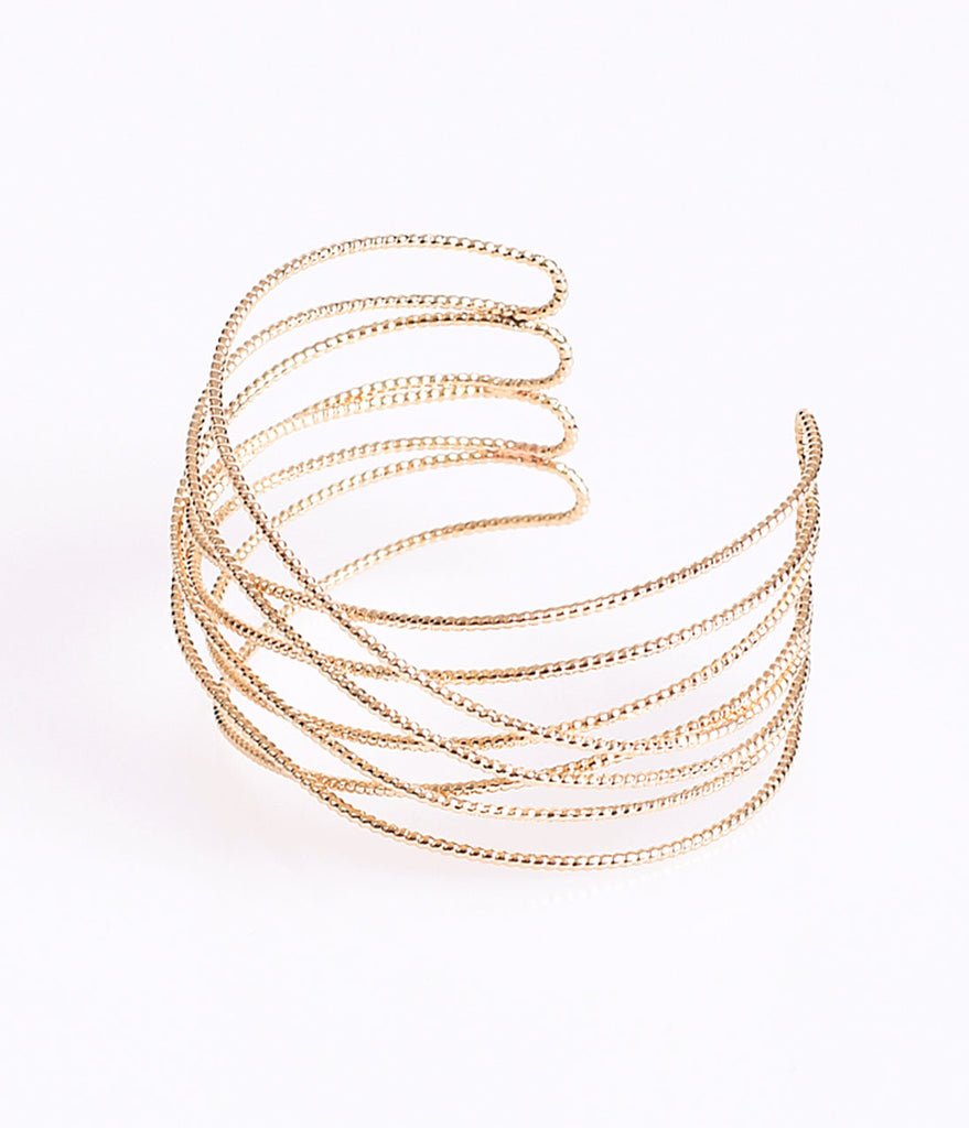 Gold Textured Woven Layered Cuff Bracelet
