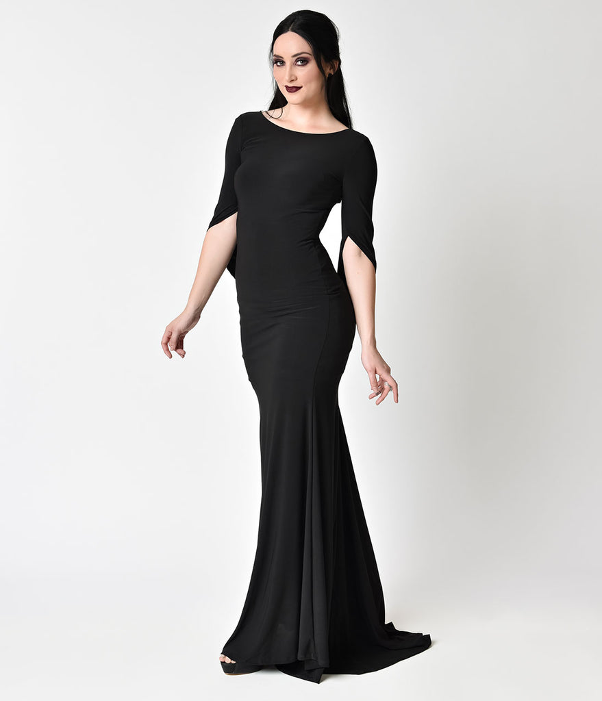 Gothic Style Black Mermaid Tail Maxi Gown