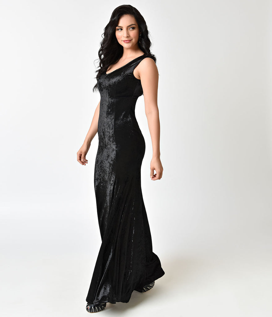 Gothic Style Black Velvet Sleeveless Maxi Dress