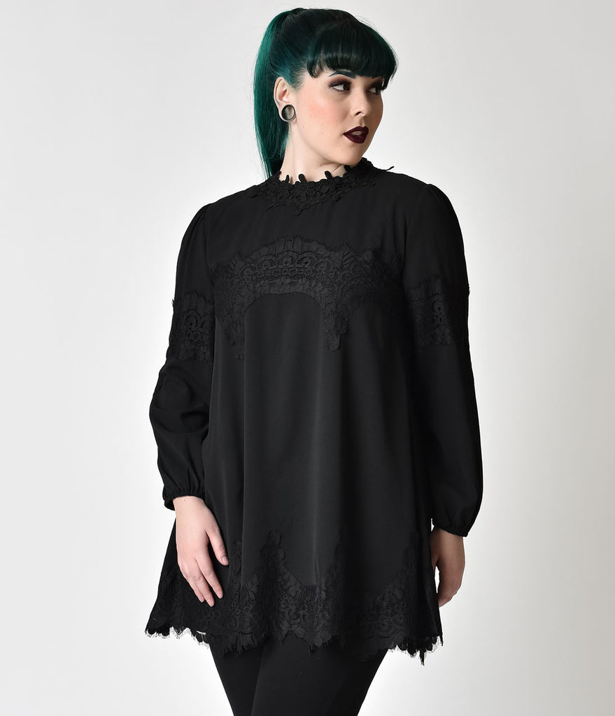 Gothic Style Plus Size Black Lace Long Sleeve A-Line Dress ...