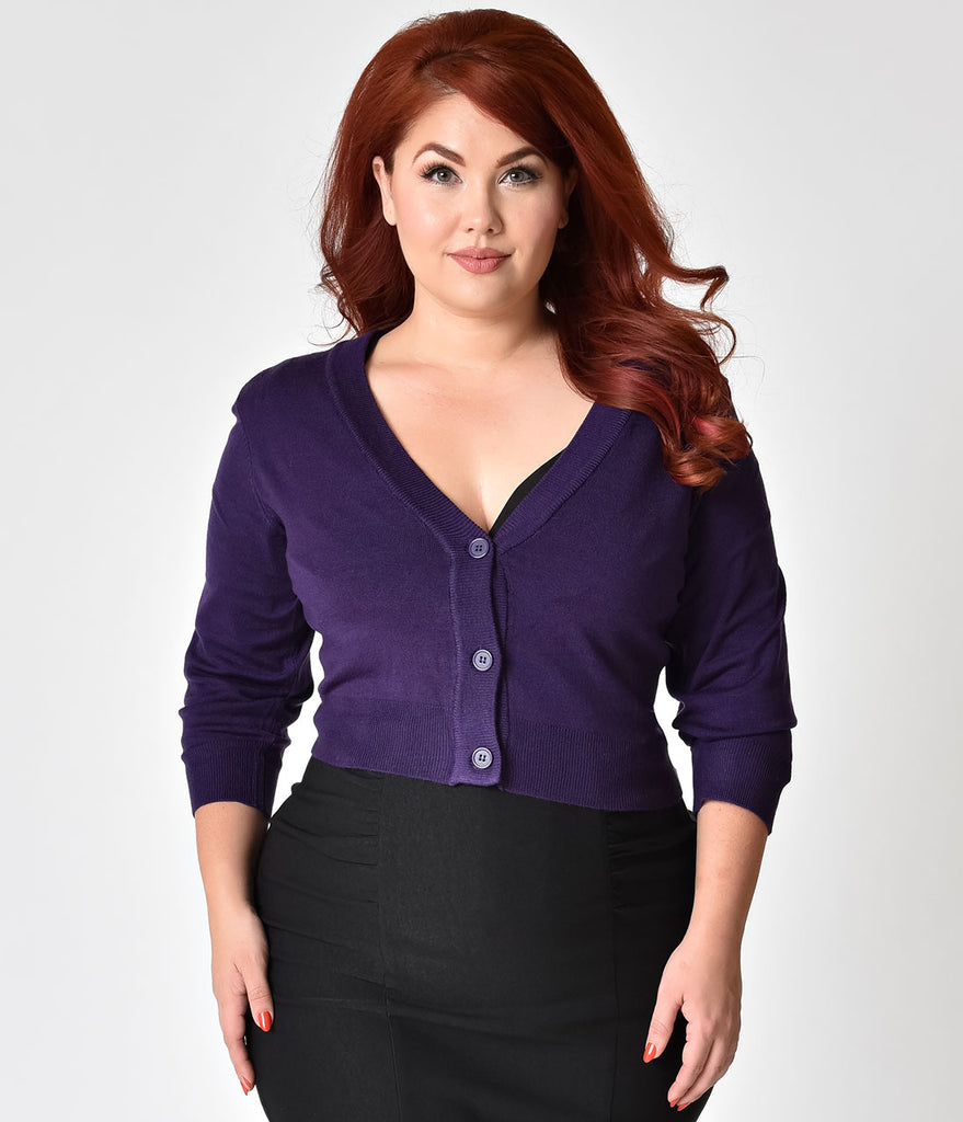Grape Purple Plus Size Three-Quarter Sleeve Button Up Crop Cardigan