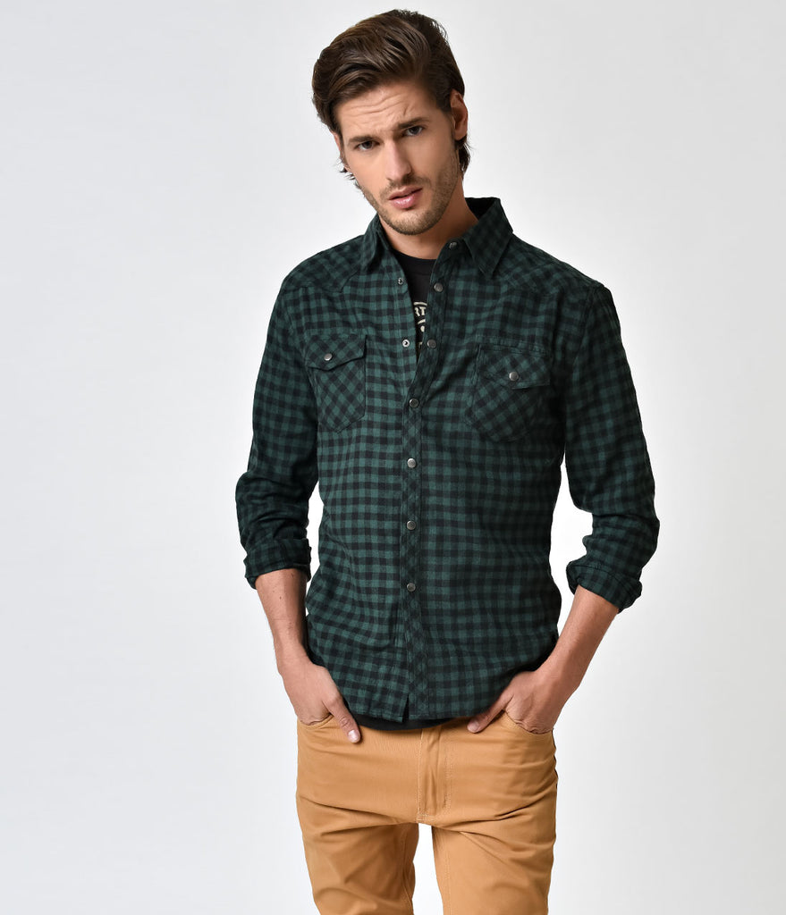 Green & Black Plaid Long Sleeve Western Button Down Shirt