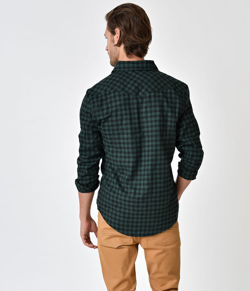 Green Black Plaid Long Sleeve Western Button Down Shirt