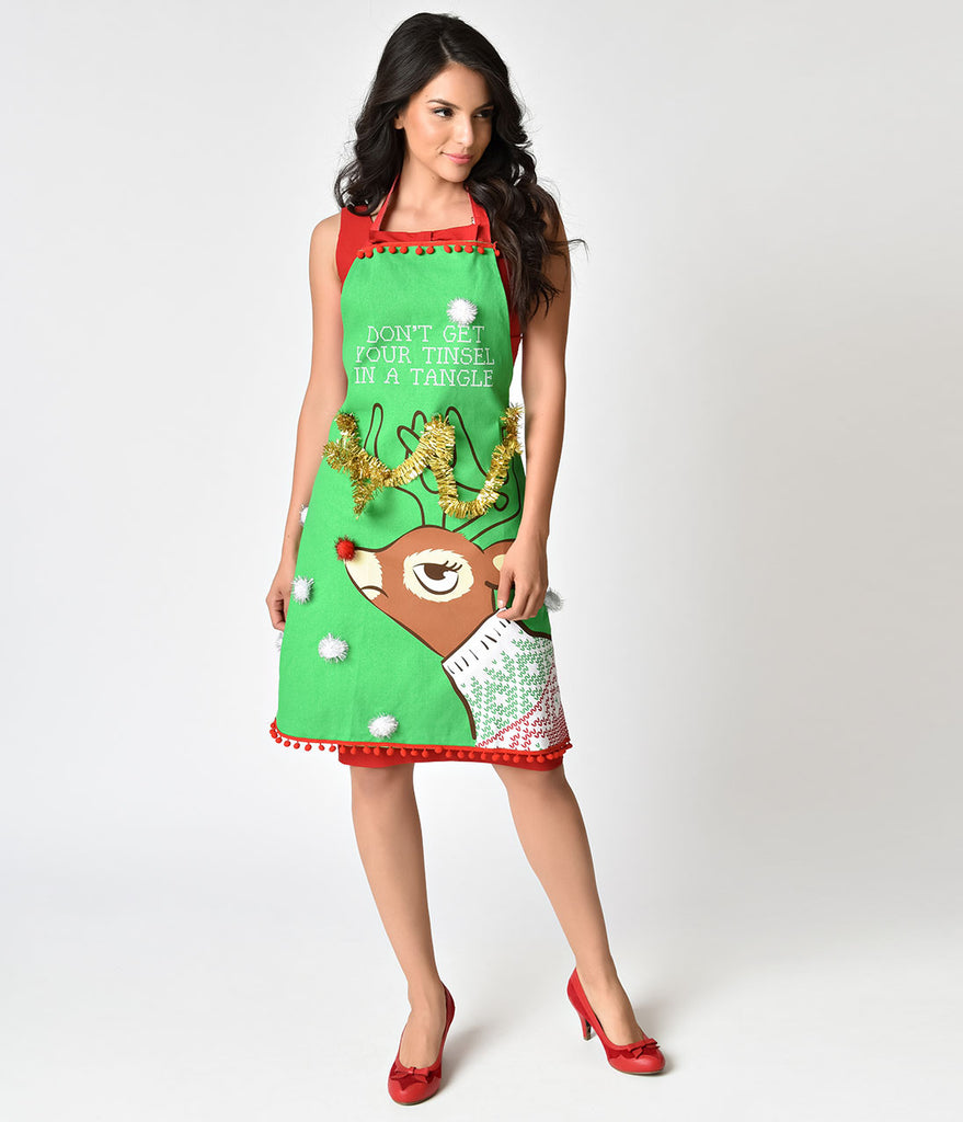 Green Cotton Tinsel In A Tangle Ugly Sweater Apron