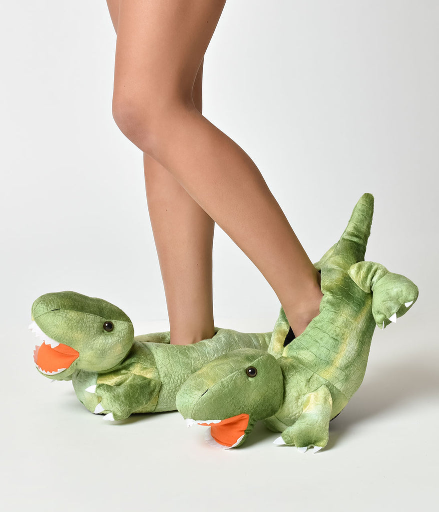 Green Dino Slippers