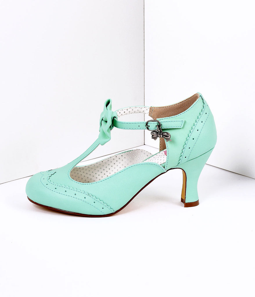 Green Faux Leather Round Toe Kitten Heel