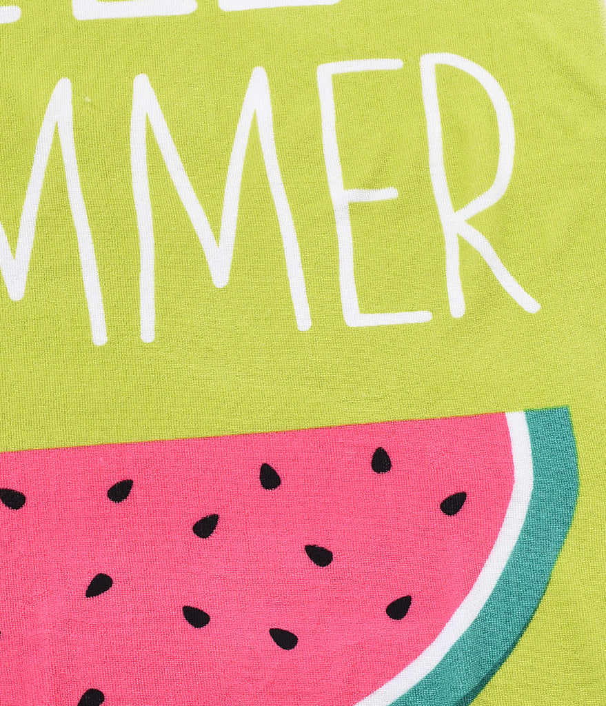 Green & Pink Watermelon Hello Summer Beach Towel