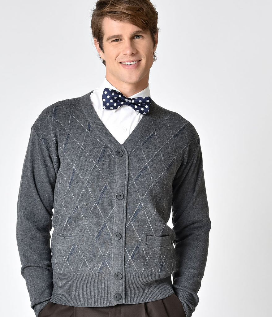 Grey Argyle Long Sleeve Button Down Mens Knit Cardigan