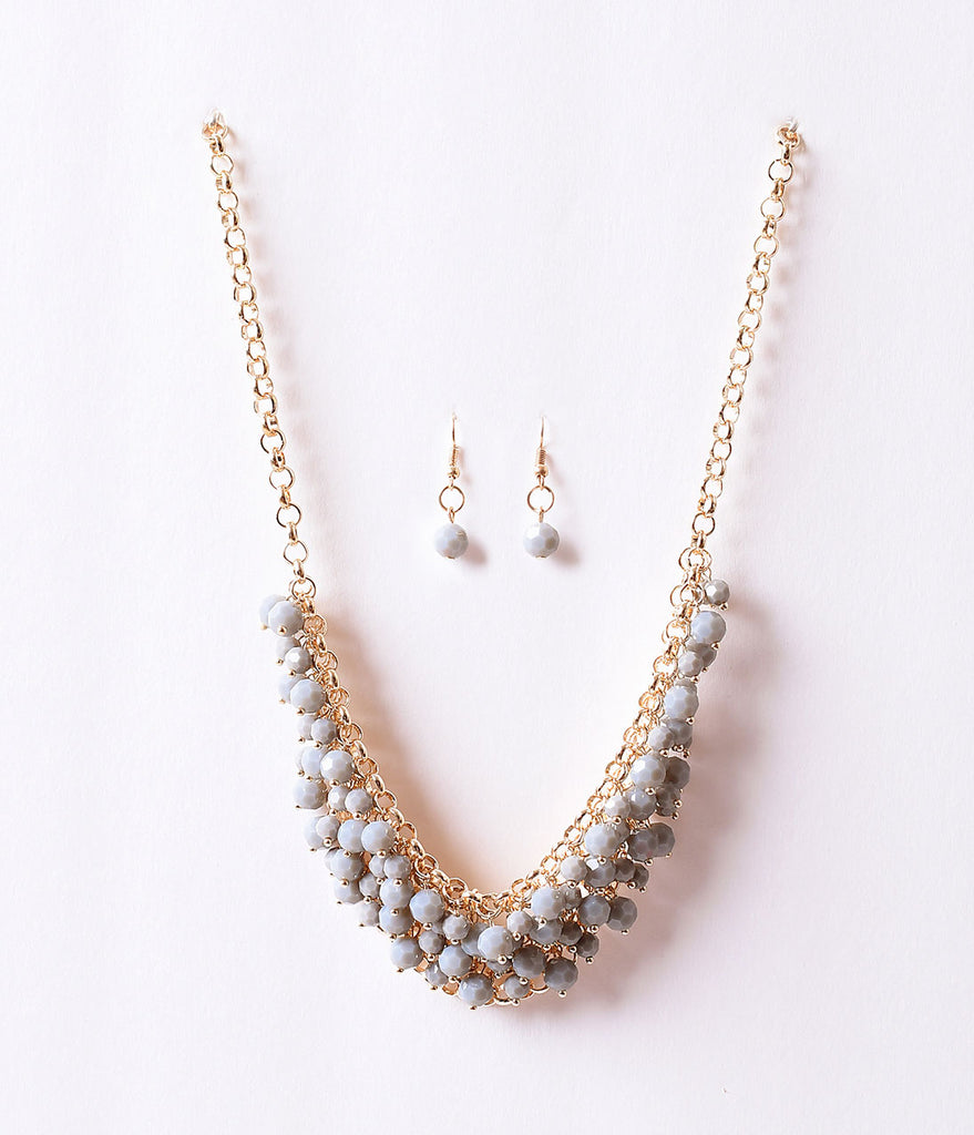 Grey Beaded Crystal & Gold Plastron Necklace & Earring Set