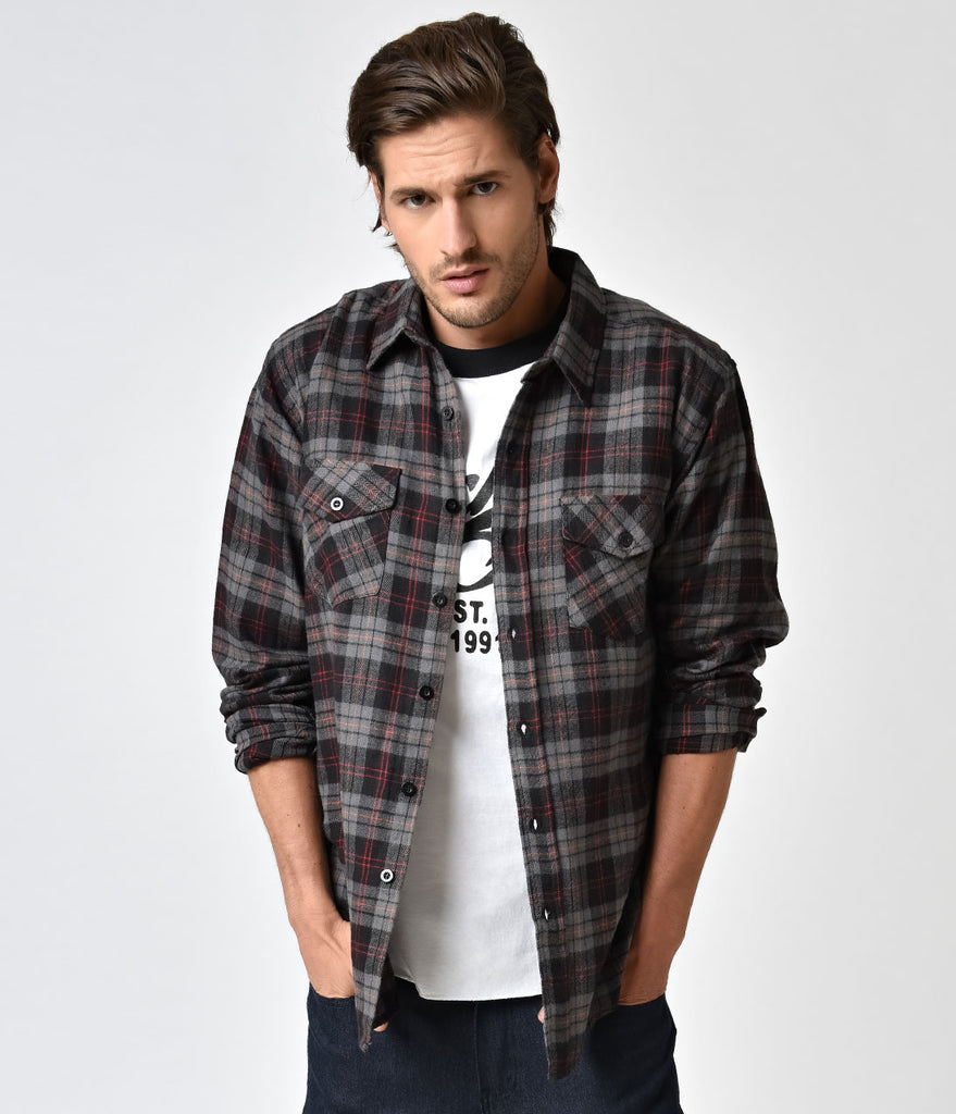 Grey black plaid flannel long sleeve button down shirt for Flannel checked long sleeve shirt