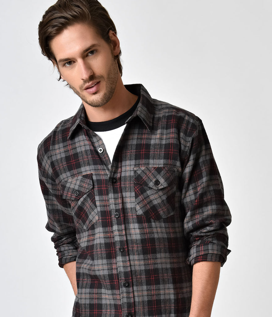 Grey black plaid flannel long sleeve button down shirt for Plaid shirt long sleeve