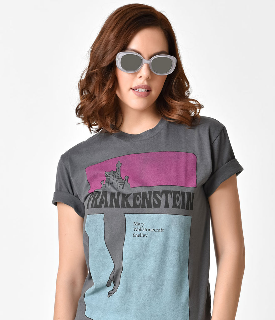 Grey Frankenstein Short Sleeve Unisex Cotton Tee