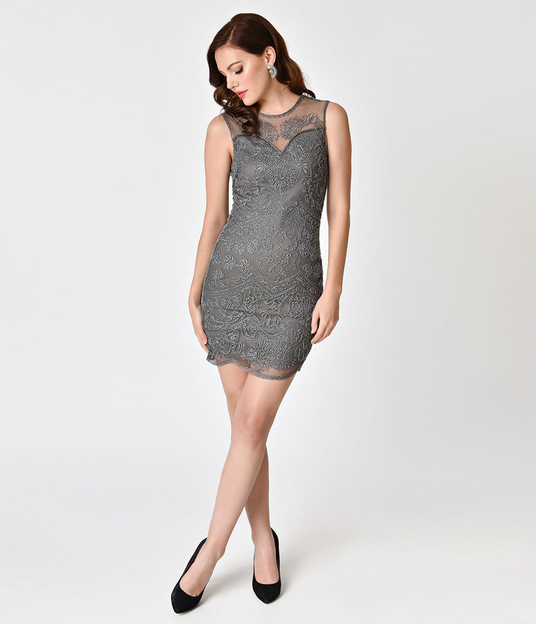 Grey Illusion Sleeveless Keyhole Beaded Flapper-Style Cocktail Dress
