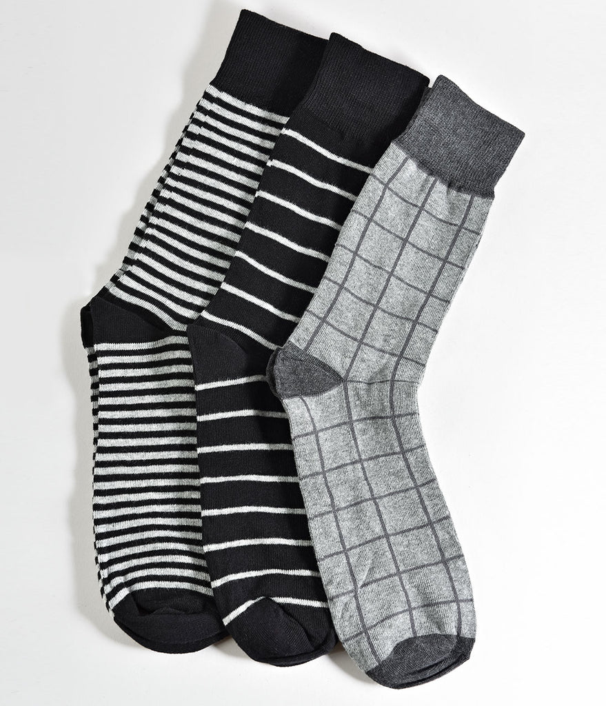 Grey Multicolor Striped Mens Dress Casual Socks Set