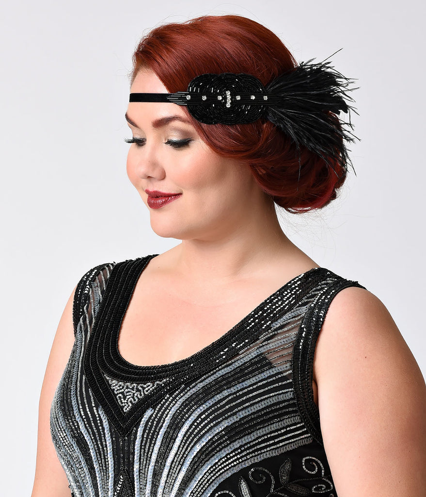 Handmade Black & Crystal Feather Deco Headband