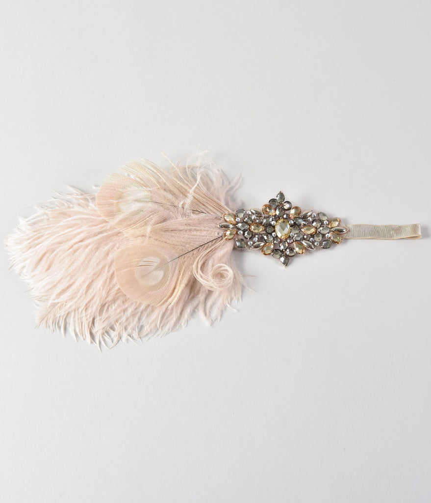 Handmade Champagne & Light Pink Party Girl Deco Feather Headband