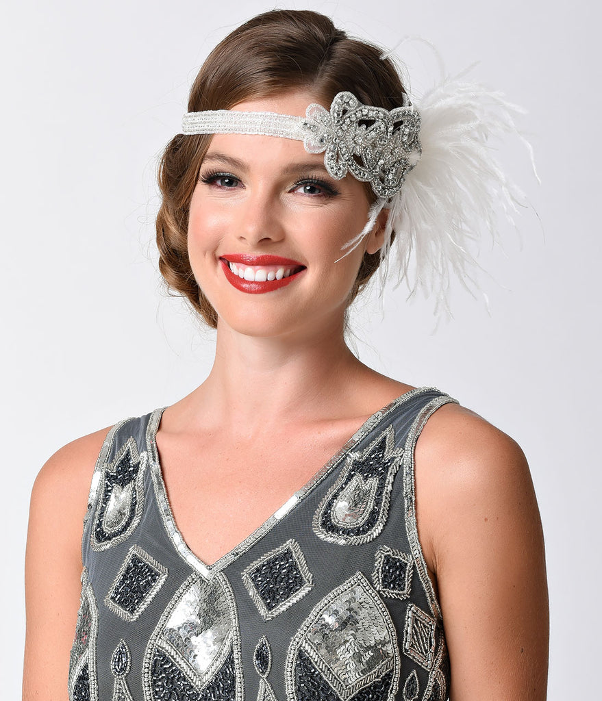 Handmade White & Silver Deco Beaded Ritz Headband