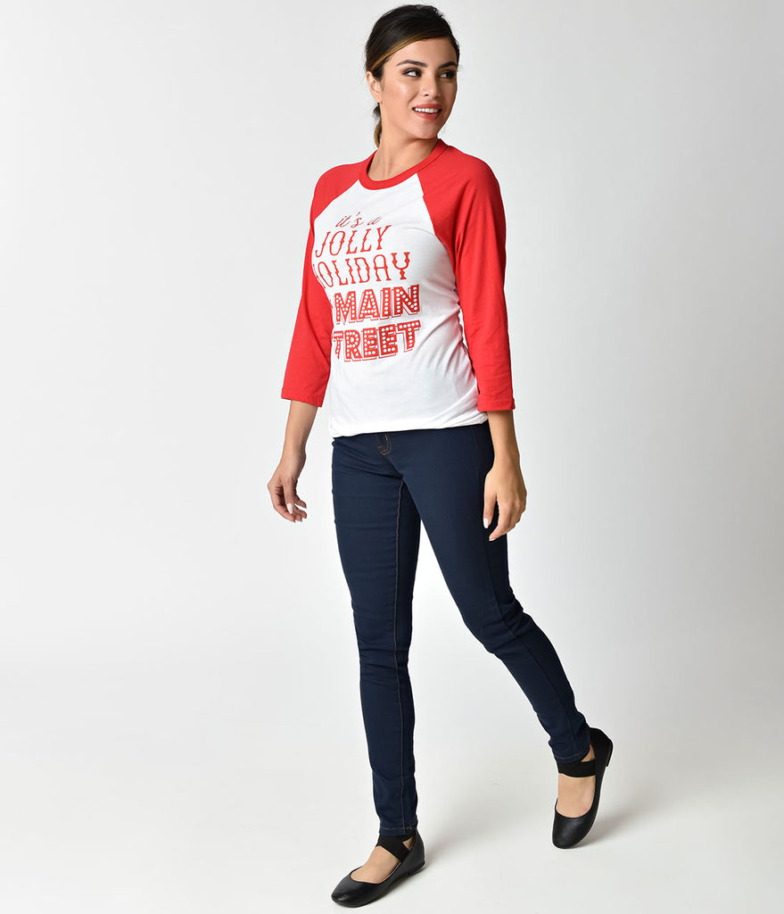 Happiest Tees on Earth Jolly Holiday Red & White Raglan Sleeve Unisex Tee