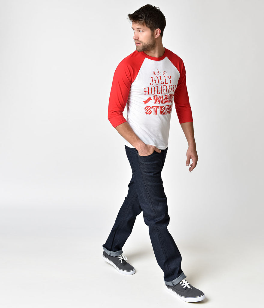 Happiest Tees on Earth Red & White Raglan Jolly Holiday Mens Tee