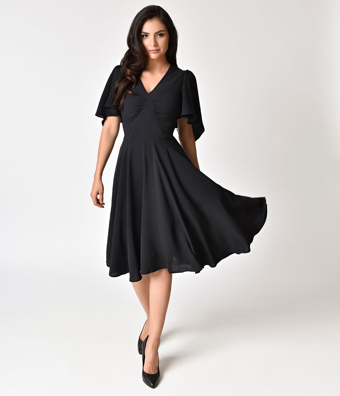 500 Vintage Style Dresses for Sale Hell Bunny 1940s Style Black Butterfly Sleeve Carolina Swing Dress $98.00 AT vintagedancer.com