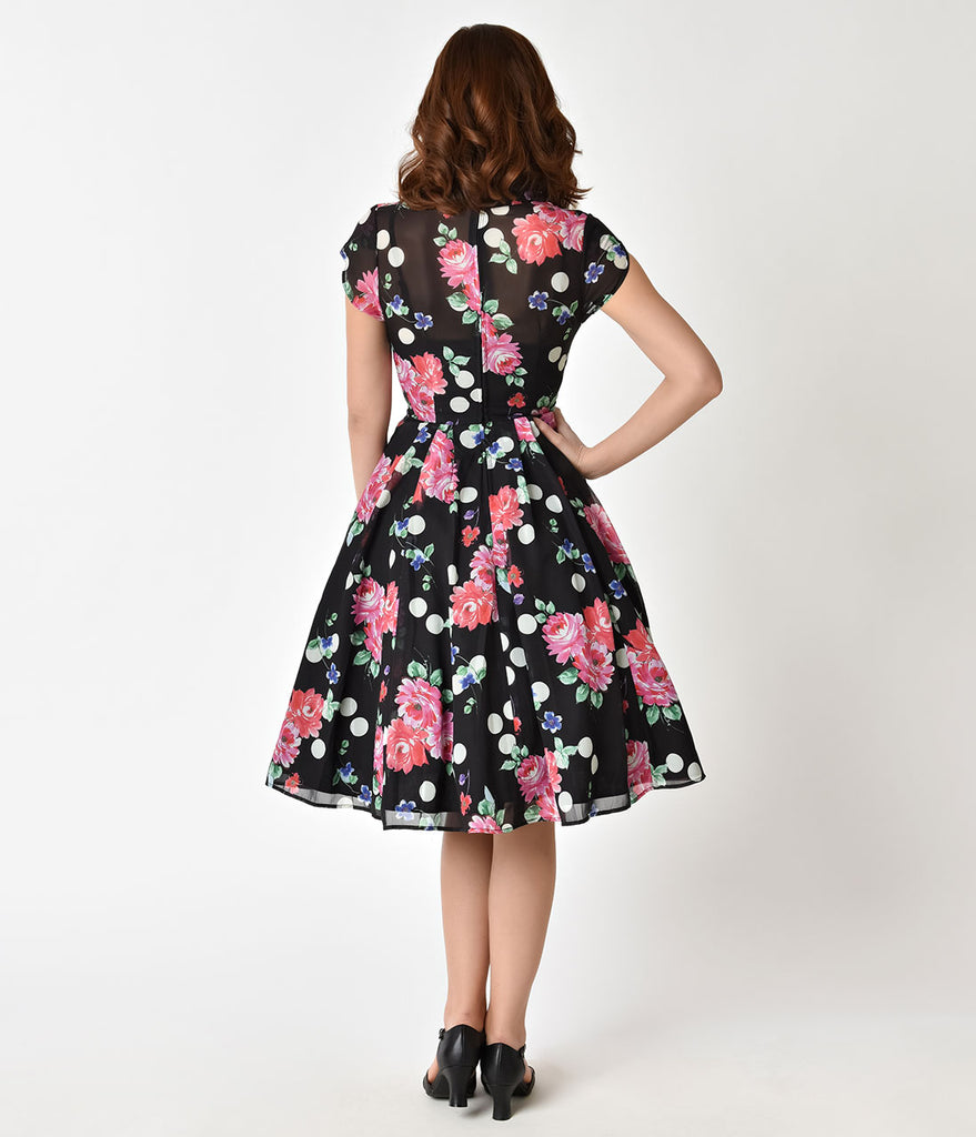 482e320bbd96d ... Hell Bunny 1950s Black Floral Cap Sleeve Bloomsbury Chiffon Swing Dress  ...