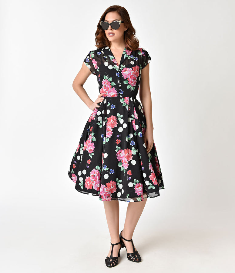Hell Bunny 1950s Black Floral Cap Sleeve Bloomsbury Chiffon Swing Dress