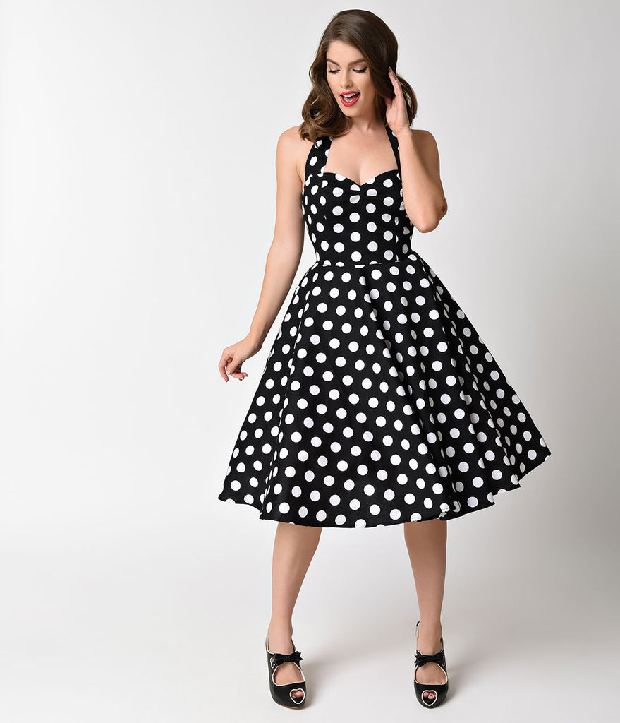 Hell Bunny 1950s Black & White Dot Halter Mariam Swing Dress