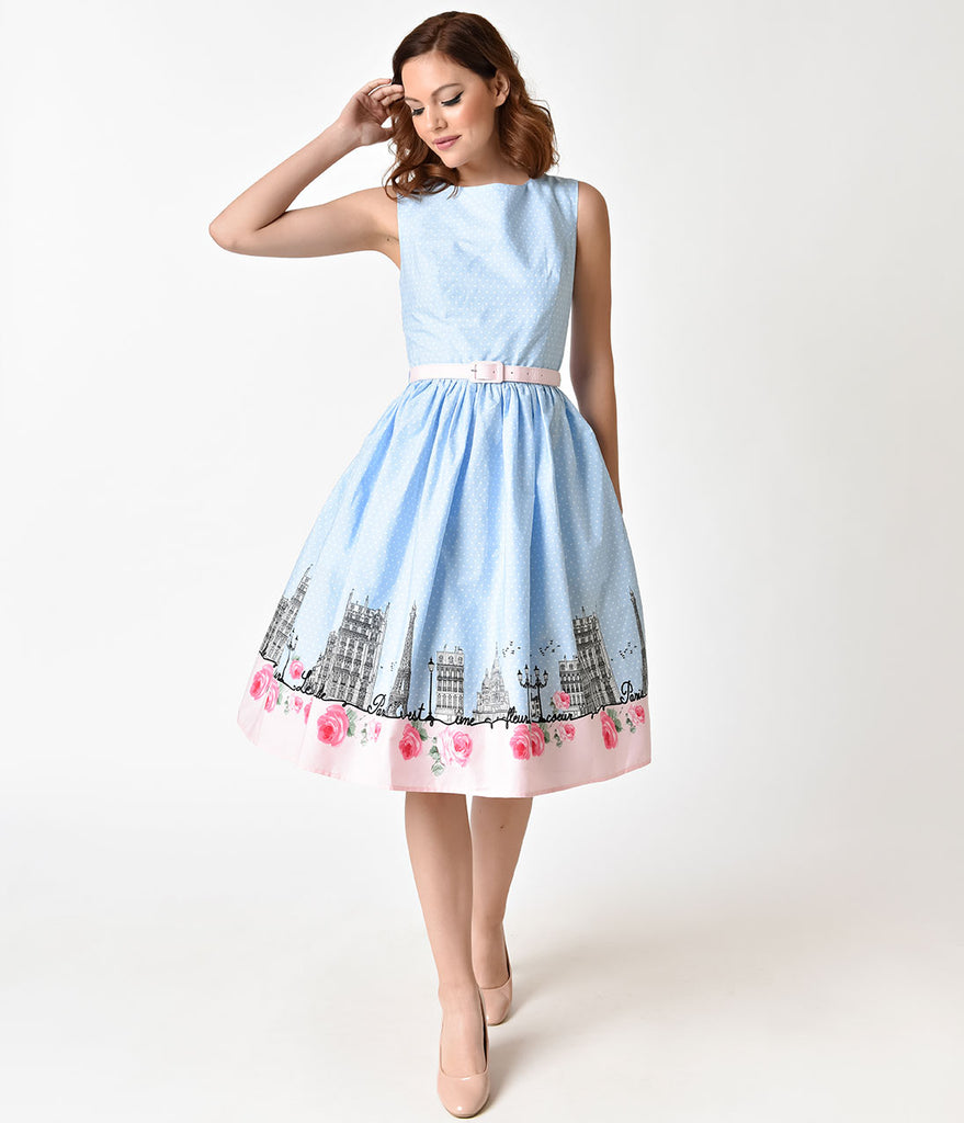 Hell Bunny 1950s Blue & Pink Paname Cotton Swing Dress