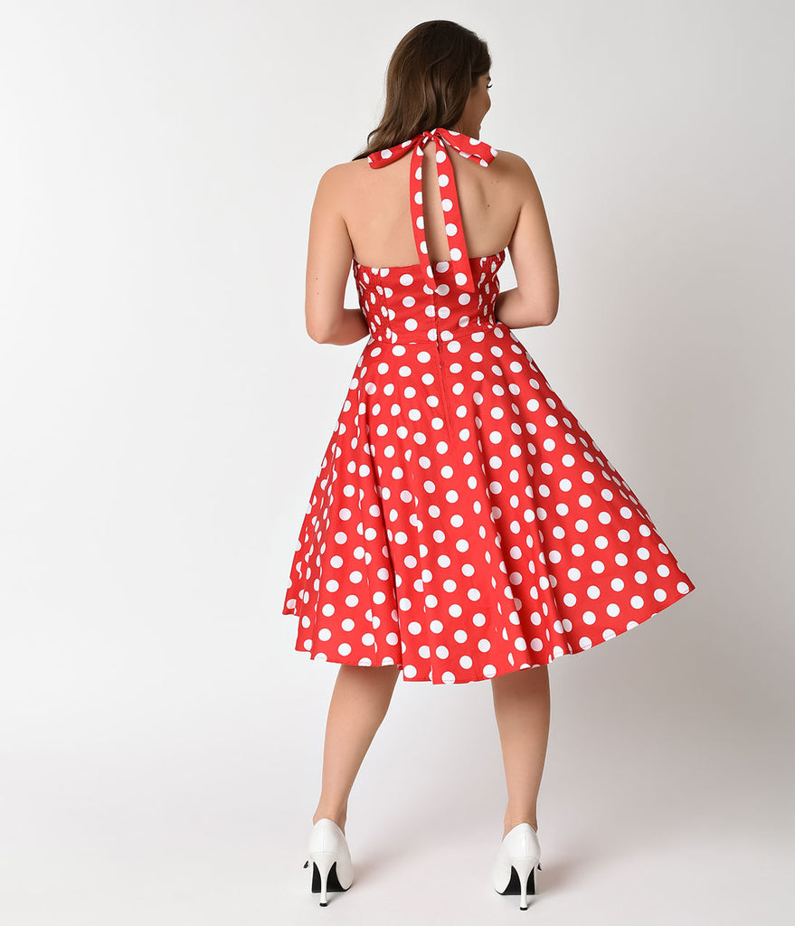 Hell Bunny 1950s Cherry Red & White Dot Halter Mariam Swing Dress