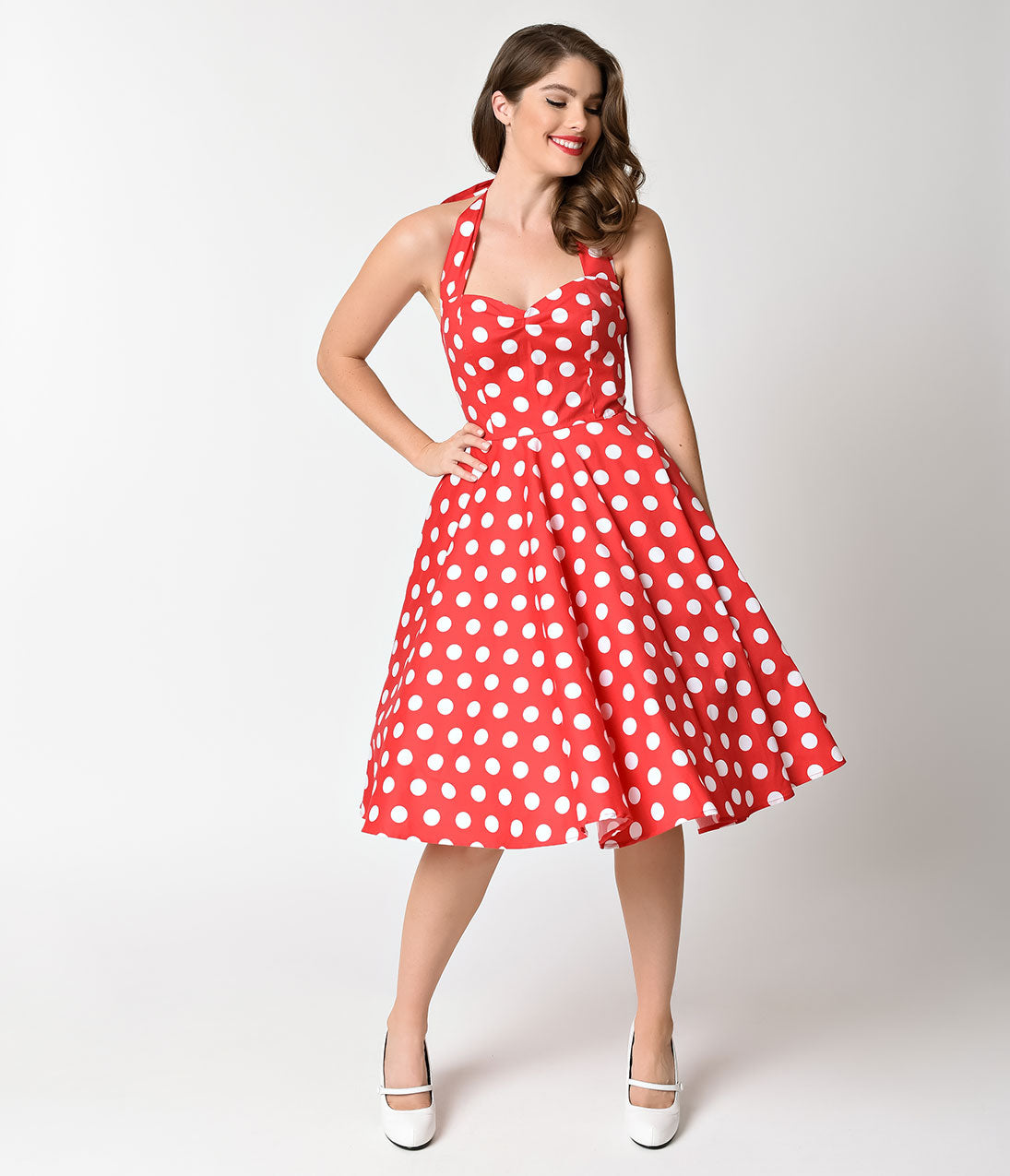 Vintage Polka Dot Dresses – 50s Spotty and Ditsy Prints Hell Bunny 1950s Cherry Red  White Dot Halter Mariam Swing Dress $54.00 AT vintagedancer.com