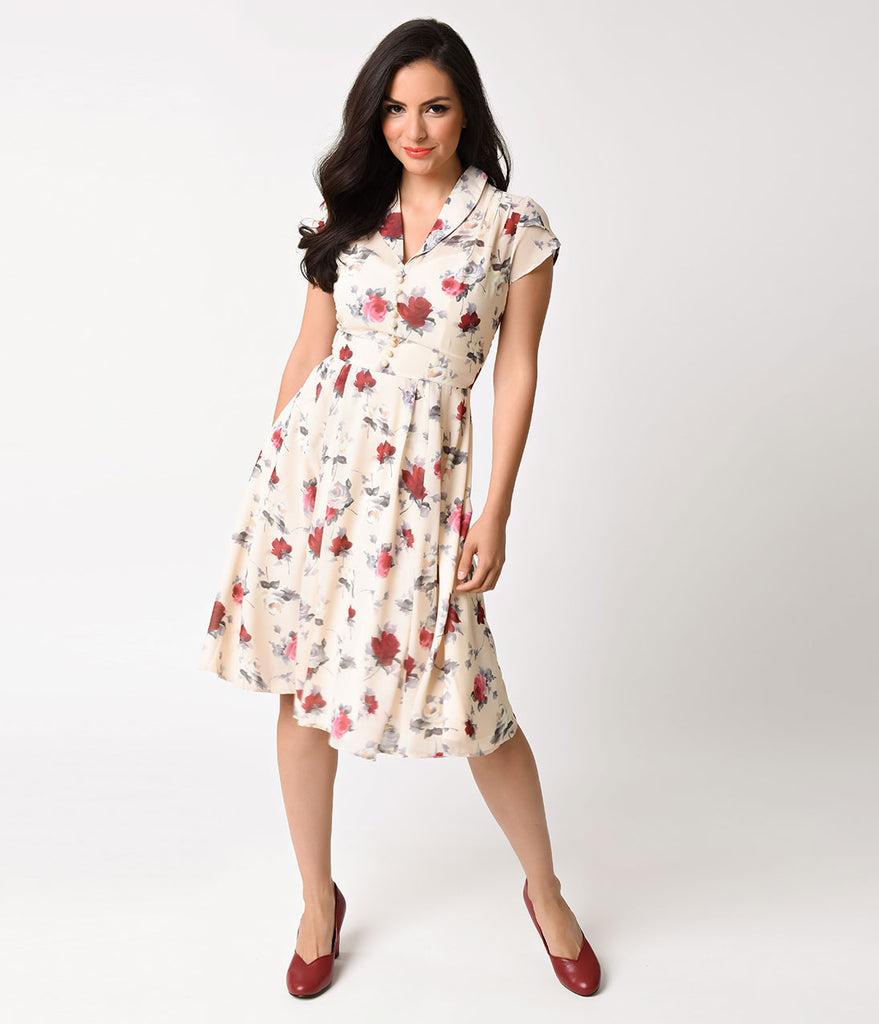 Hell Bunny 1950s Cream & Floral Cap Sleeve Leah Chiffon Swing Dress