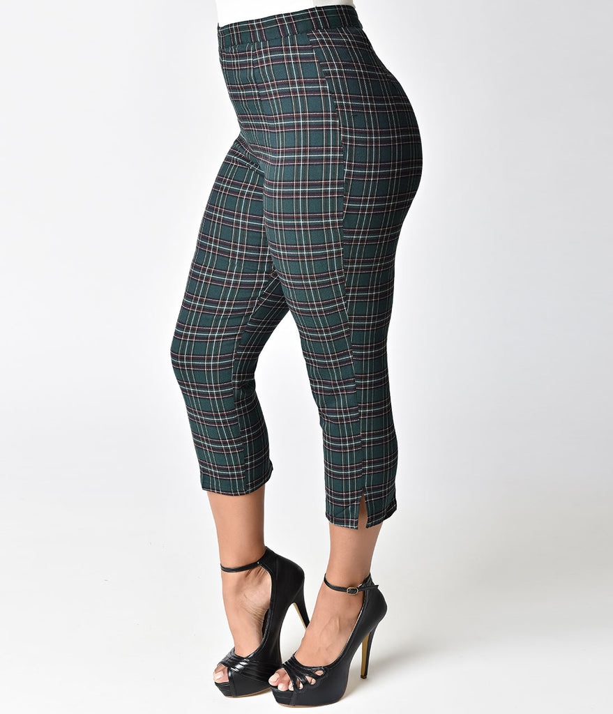 Hell Bunny 1950s Forest Green Tartan Peebles Cigarette Trousers