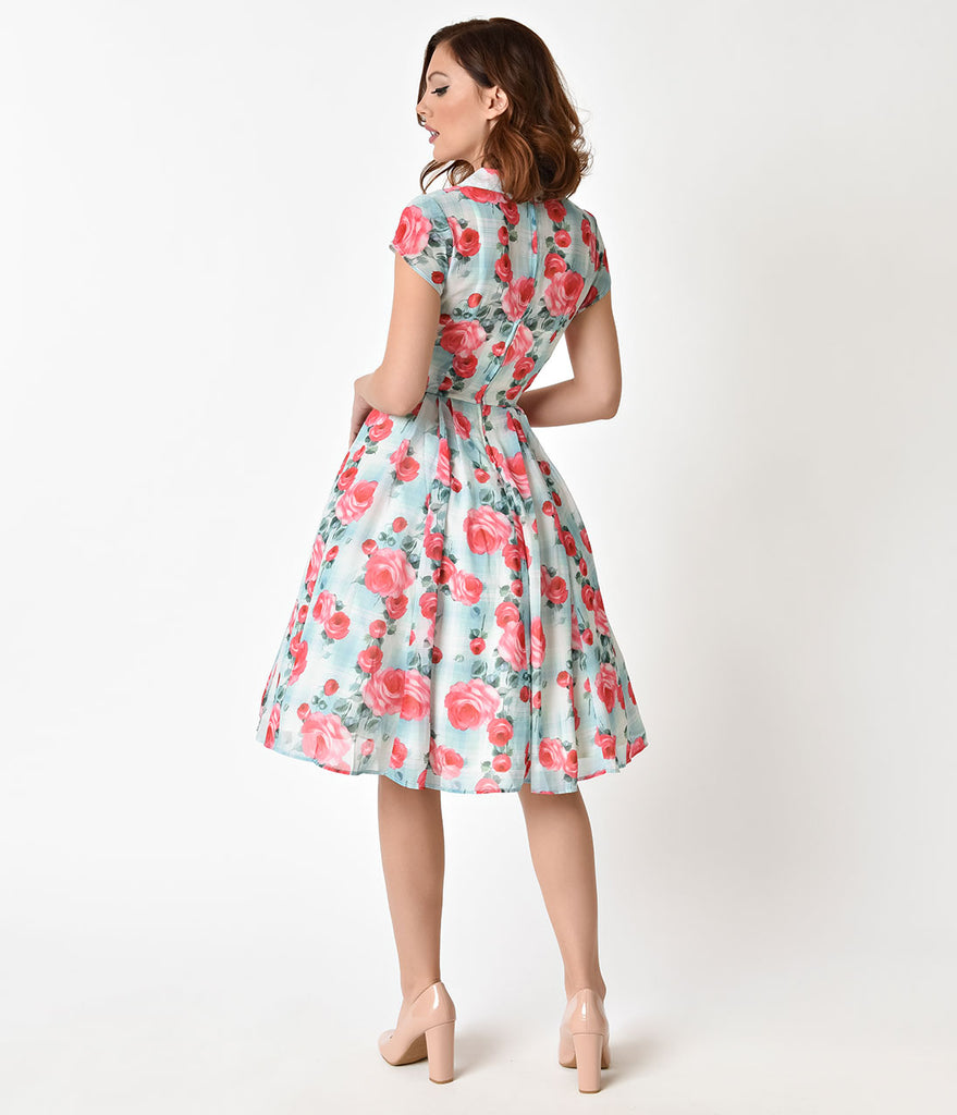 Hell Bunny 1950s Mint Floral Cap Sleeve Suzannah Chiffon Swing Dress