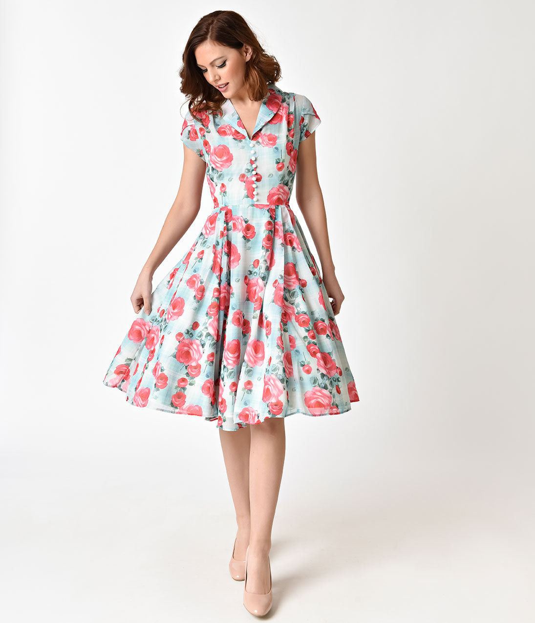 500 Vintage Style Dresses for Sale Hell Bunny 1950S Mint Floral Cap Sleeve Suzannah Chiffon Swing Dress $92.00 AT vintagedancer.com